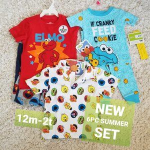 6 PC SUMMER LOT SESAME STREET SZ 12 TO 2T ELMO